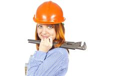 Free Builder Girl In A Helmet Royalty Free Stock Images - 25879659