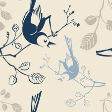 Seamless Pattern With Branches And Birds Royalty Free Stock Image