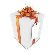 Free Gift Box With Blank Label Royalty Free Stock Photo - 25881025