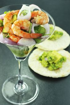 Shrimp And Avocado Salad Stock Photography