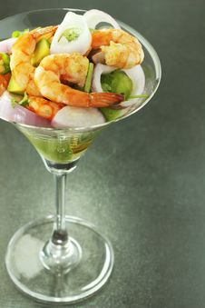 Shrimp And Vegetable Salad Royalty Free Stock Photography