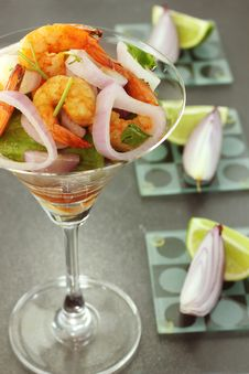 Shrimp Salad And Red Onion Stock Image