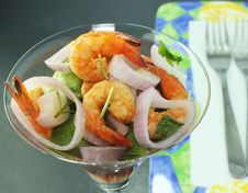 Shrimp Salad And Red Onion Royalty Free Stock Images