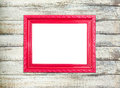 Free Red Vintage Picture Frame On Old Wood Background Stock Photo - 25895830