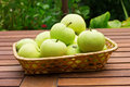 Free Fresh Green Apples In Bucket On Wooden Surface Royalty Free Stock Photography - 25897027
