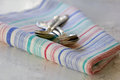 Free Set Of Silver Teaspoons On The  Kitchen Towel Royalty Free Stock Images - 25898979