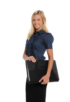 Free Young Businesswoman Holding A Laptop Computer Stock Image - 25890701