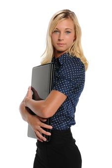 Free Young Blond Businesswoman With Laptop Computer Stock Photo - 25890710