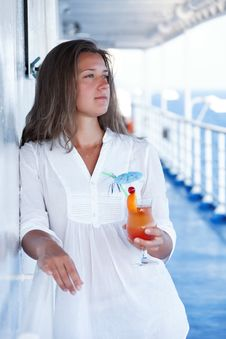 Free She Enjoys A Cocktail On The Liner Stock Photography - 25891122