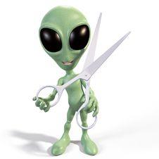 Free Alien With Scissors Stock Photo - 25894110