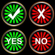 Free Abstract Buttons Yes And No Royalty Free Stock Images - 25894609