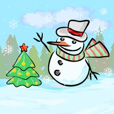 Snowman And New Year Tree Royalty Free Stock Image