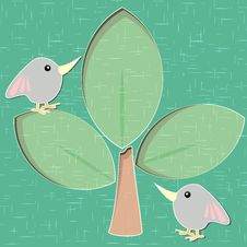 Paper Cut Tree And Birds Royalty Free Stock Photography