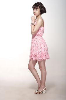 Free Beautiful Girl In A Pink Dress Royalty Free Stock Images - 25895249
