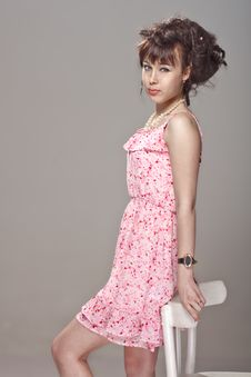 Beautiful Girl In A Pink Dress Royalty Free Stock Photos
