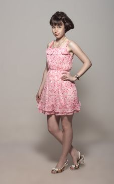 Free Beautiful Girl In A Pink Dress Stock Image - 25895321