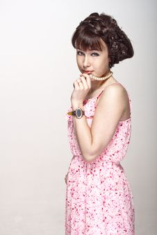 Free Beautiful Girl In A Pink Dress Royalty Free Stock Photography - 25895337