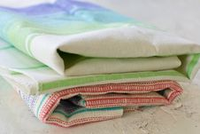 Free Pile Of Clean Stripped Kitchen Towels Royalty Free Stock Photography - 25898987