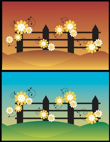 Free Summer / Spring Flowers Fence Royalty Free Stock Image - 2591706