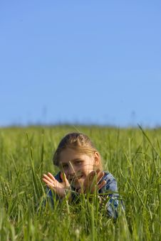 Free Girl On The Grass Stock Photo - 2592050