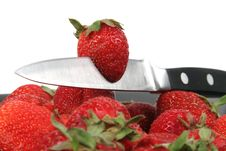 Free Strawberries With Metal Knife Stock Images - 2593424