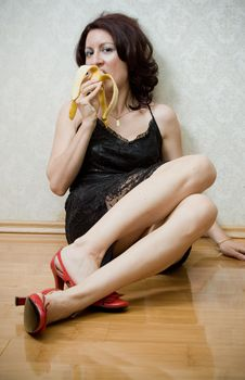 Free Woman With Banana Royalty Free Stock Photo - 2597405