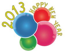 Free 2013 Happy New Year On Abstract Colorful Bubbles Royalty Free Stock Image - 25901686