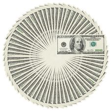 Free Dollar Bank Notes Circle Stack Royalty Free Stock Images - 25904989