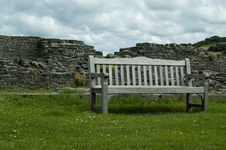 Castle Ruin Bench Viewpoint Royalty Free Stock Image