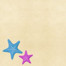 Free Starfish On Beach Recycled Papercraft Background Stock Image - 25913391
