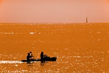Free Couple Kayaking At Dusk Stock Image - 25914231