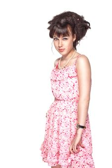 Free Beautiful Girl In A Pink Dress Stock Images - 25920904