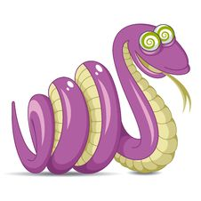 Free Violet Snake On A White Background Royalty Free Stock Photography - 25933257