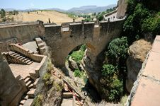 Roman Bridge In Ronda In Malaga, Andalusia, Spain Stock Photography