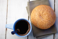 Free Coffee And Loaf With Sesame Stock Image - 25945521
