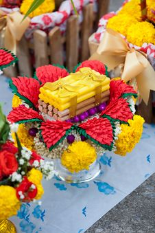 Tray Flower With Candles Use For Thai Wedding Royalty Free Stock Photography