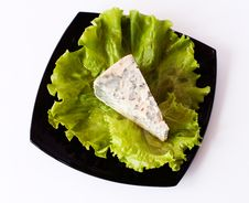 Free Piece Of Cheese On Plate Royalty Free Stock Photography - 25949857