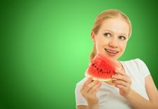 Free Healthy Pretty Girl With A Slice Of Watermelon Stock Photography - 25951112