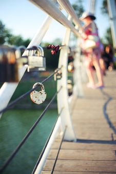 Free Signs Of Love On Valentine S Day Bridge Royalty Free Stock Photos - 25963188