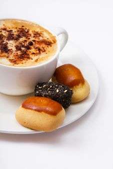 Cup Of Coffee And Sweets On The Saucer Royalty Free Stock Image