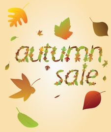 Free Autumnal Sale From Leaves. Stock Image - 25963581