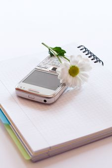 Free Notebook,mobile Phone And Flower Royalty Free Stock Photography - 25969927