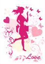 Free Dreamy Girl  Vector Silhouette Stock Images - 25977674