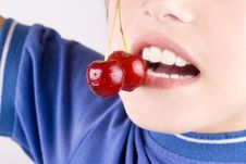 Free Cherry In The Mouth Stock Image - 25973611