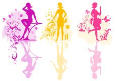 Girls Vector Color Silhouette Royalty Free Stock Photo