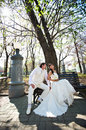 Free Happy Bride And Groom On Bench Stock Photo - 25980720