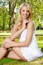 Free Blond Wonam In The Garden Royalty Free Stock Photos - 25987998