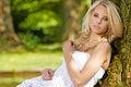 Free Blond Wonam In The Garden Stock Image - 25988001