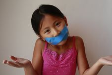 Free Little Asian Chinese Girl With Tape Royalty Free Stock Images - 25980189