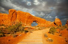Door Arch In Arches National Park, Utah Stock Photo